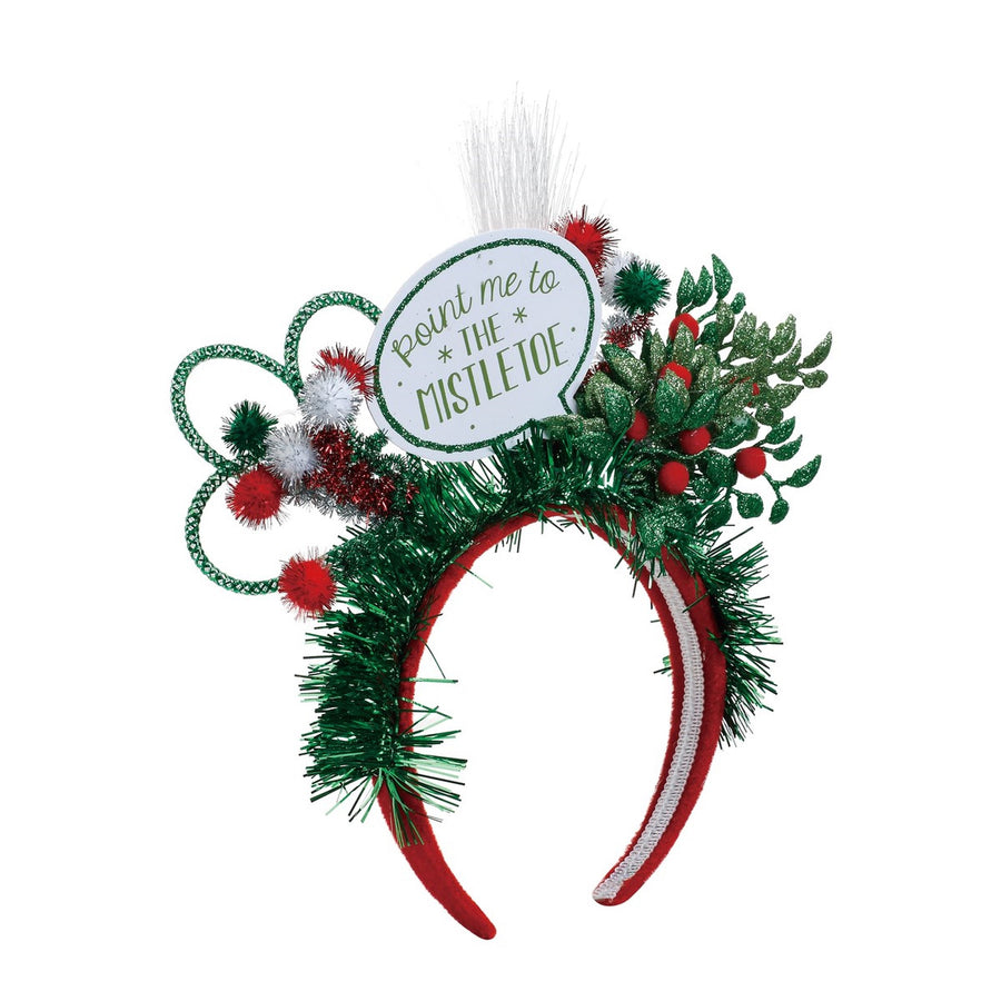 """Point me to the Mistletoe"" Lit Headband Fun Holiday Party Attire"