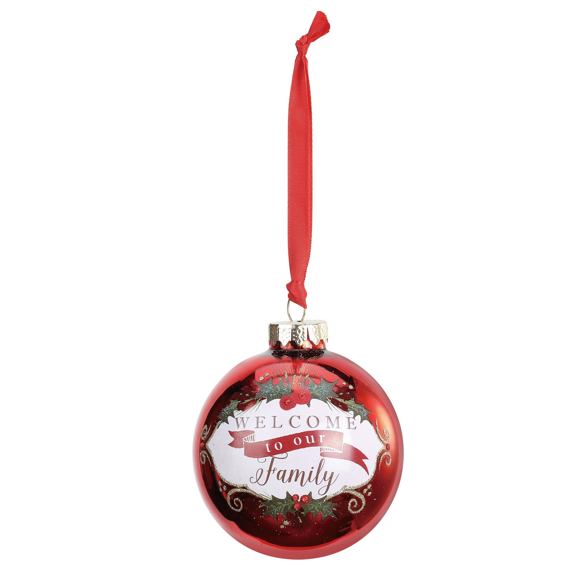 """Welcome to our Family"" Message Ball Ornament"