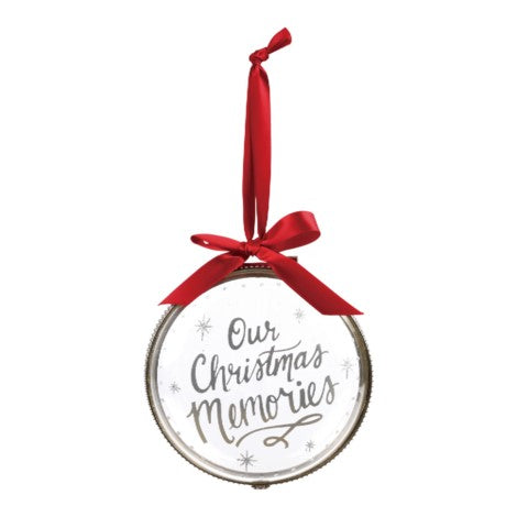 Demdaco Christmas Memories Hinged Glass Ornament | Putti Celebrations