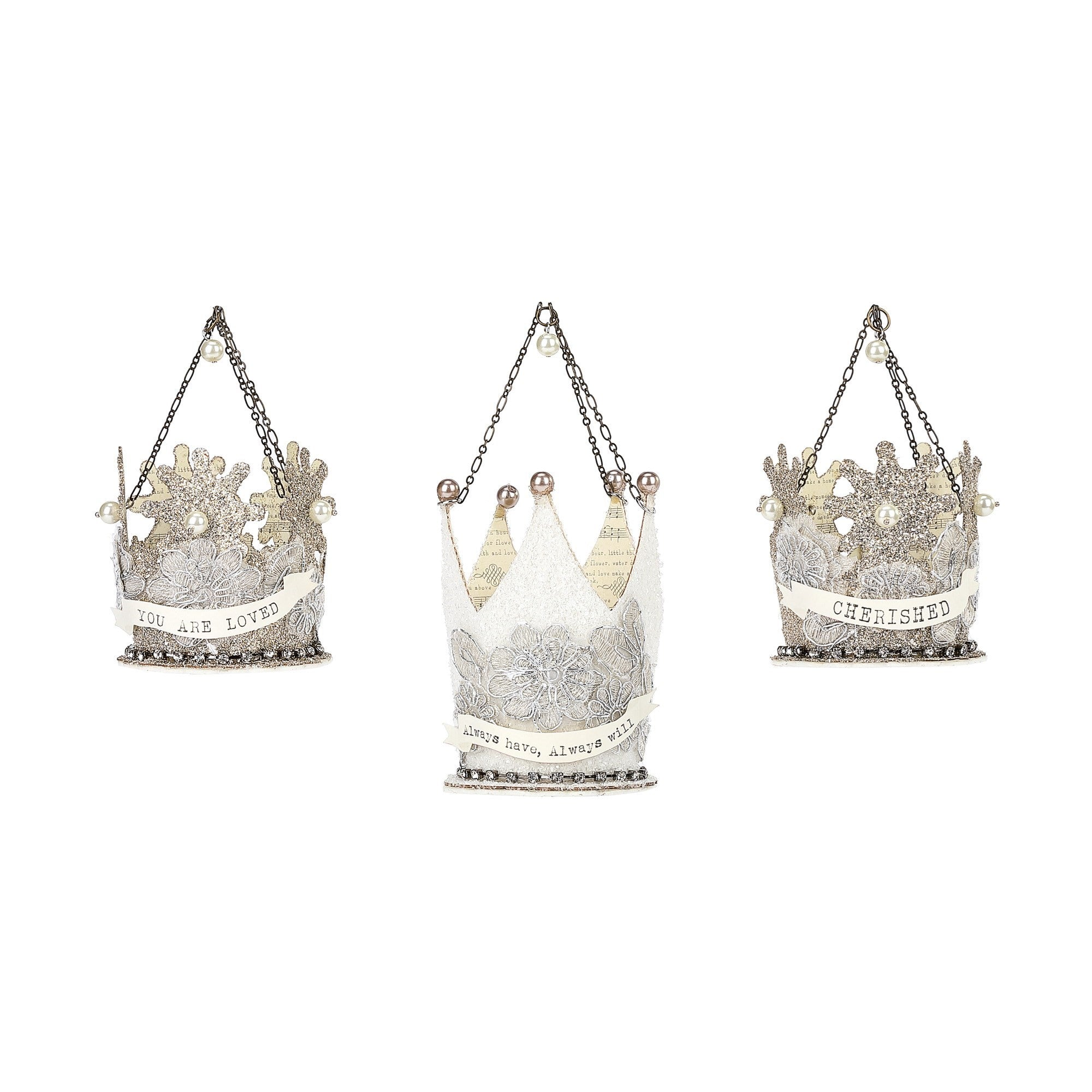 A Gilded Life Crown Message Ornaments  |  Putti Christmas Canada