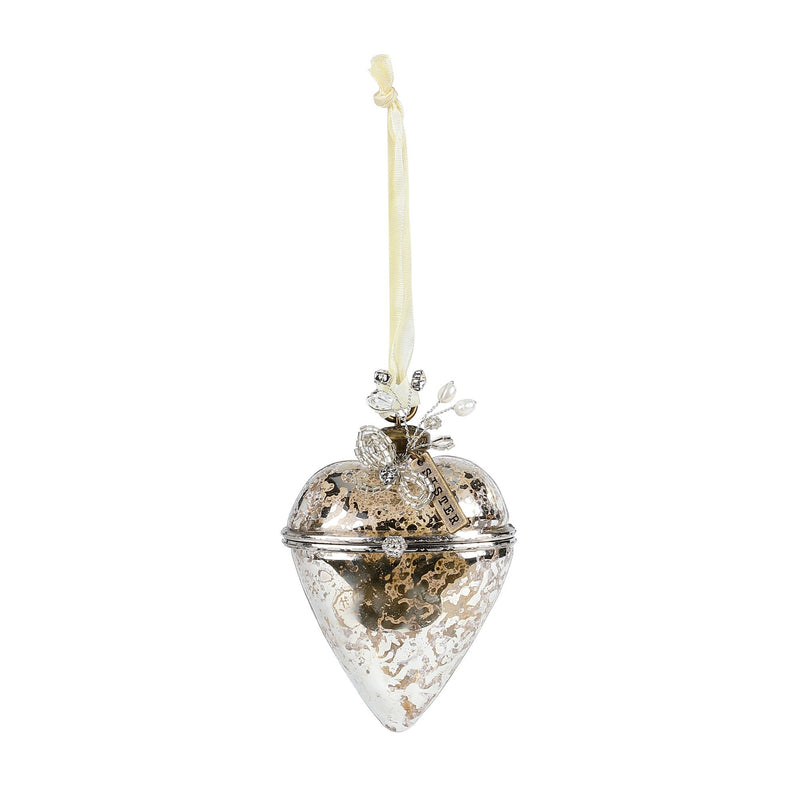 A Gilded Life Hinged Glass Heart Ornament Sister | Putti Celebrations