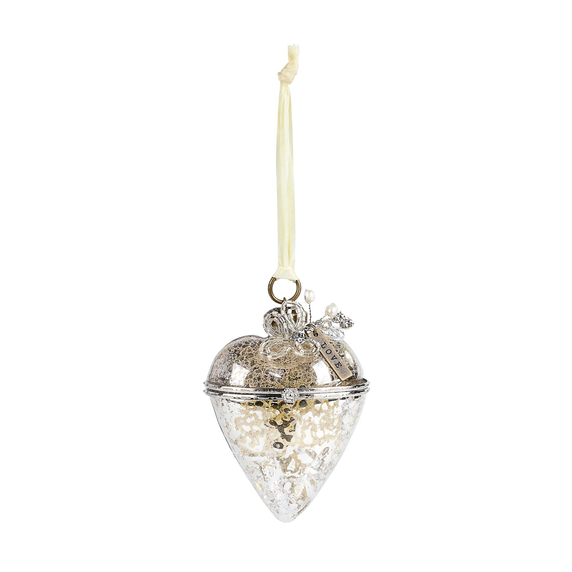 A Gilded Life Hinged Glass Heart Ornament - Love