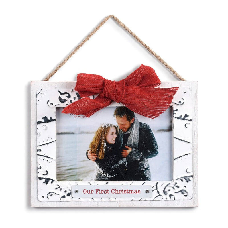 """Our First Christmas"" Ceiling Tin Frame Ornament"