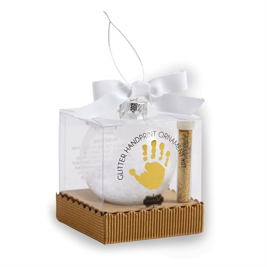 Mud Pie Gold Glitter Hand Print Ornament | Putti Christmas Canada
