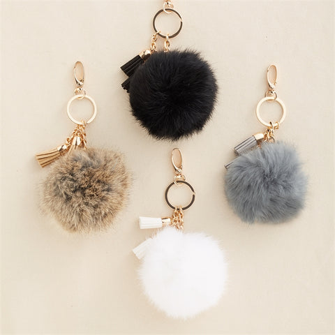 Fur Pom Pom Key Chain with Tassel