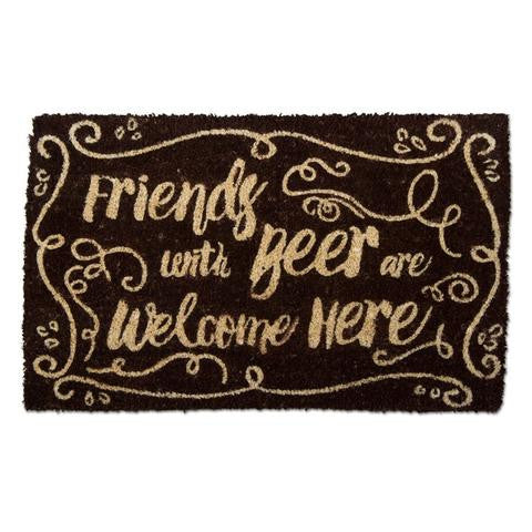 """Friends with beer are welcome here"" Door Mat"