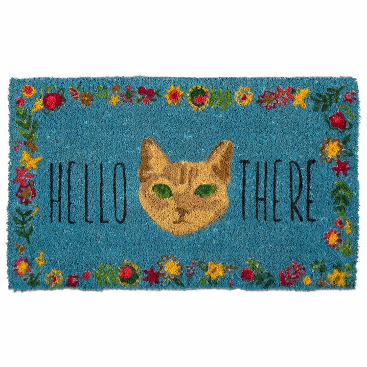 """Hello There"" Cat Coir Doormat"