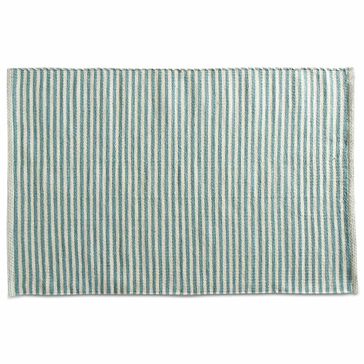 Turquoise Pencil Stripe Indoor Outdoor Rug