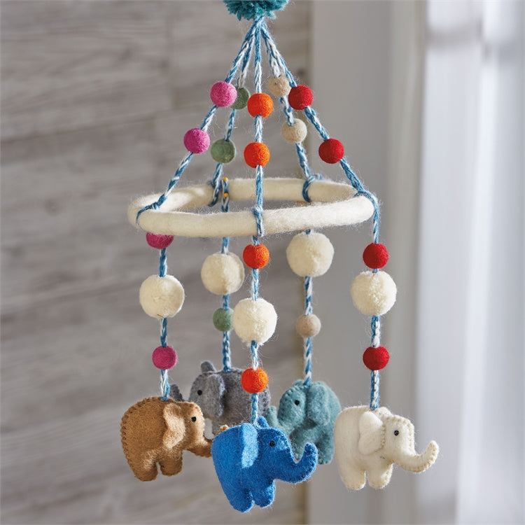Felted Wool Elephant Mobile