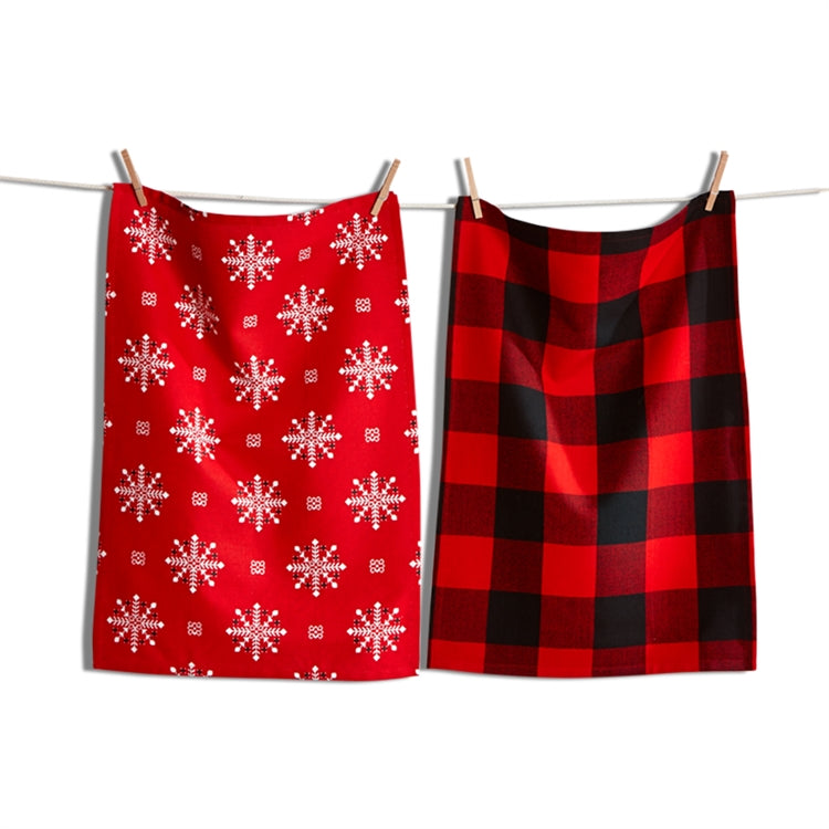 Lodge Buffalo Check Snowflake Dish Towel Set of 2 Putti Fine Furnishings