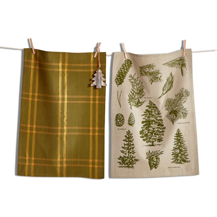 Greenwood Botanical  Dish Towel Set with Ornament - Putti Christmas