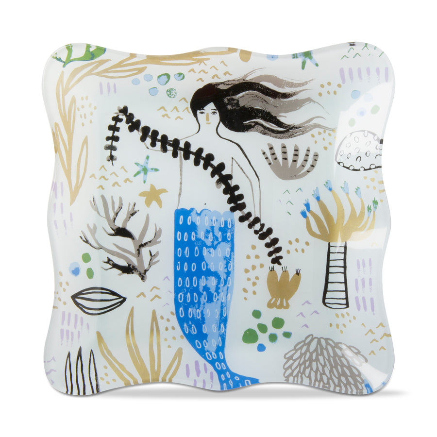 """Mermaid"" Square Glass Plate"