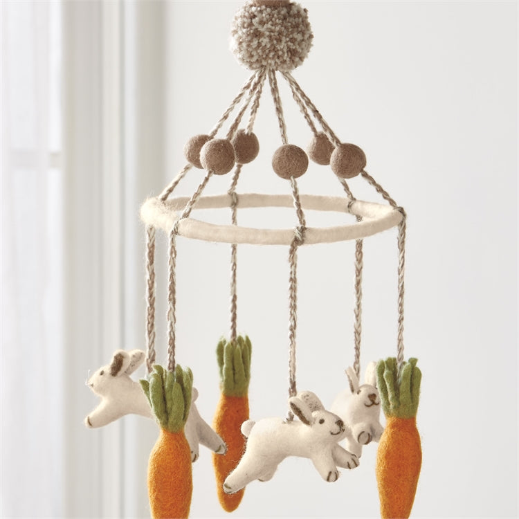 Felted Wool Bunny and Carrot Mobile, TAG-Design Home Associates, Putti Fine Furnishings