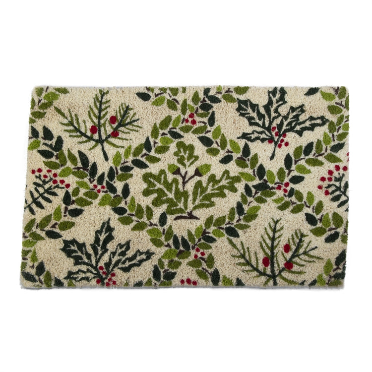 Holly Berry Coir Doormat  | Putti Christmas Celebrations Canada