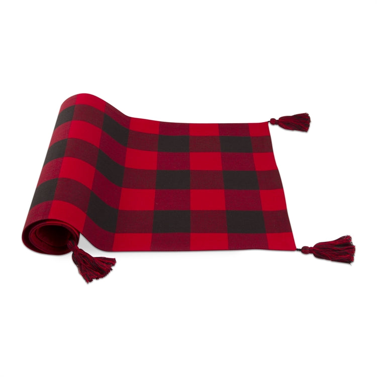 Tag Ltd. Lodge Buffalo Check Runner with Tassels - Putti Fine Furnishings