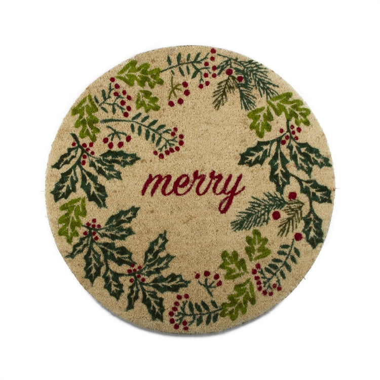 Holly Berry Wreath Round Coir Doormat