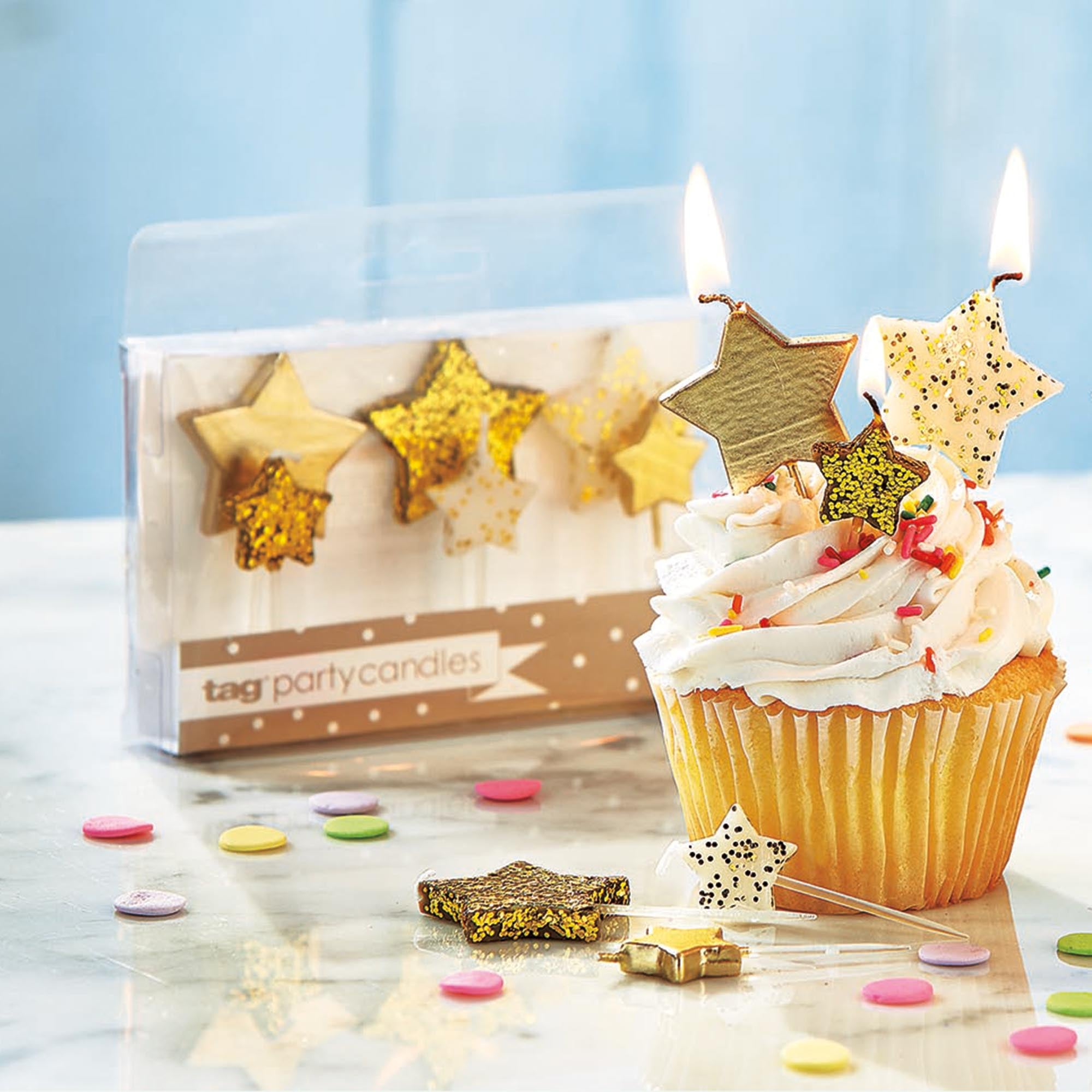 Gold Star Shaped Party Candles