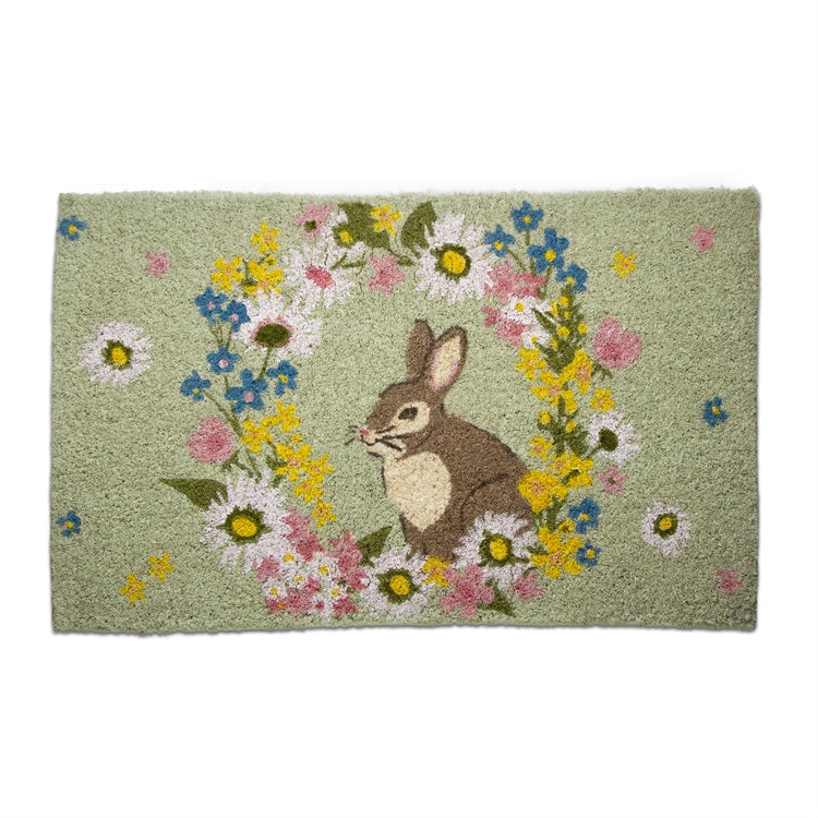 Bunny Floral Coir Doormat Coir Doormat | Putti Fine Furnishings Canada