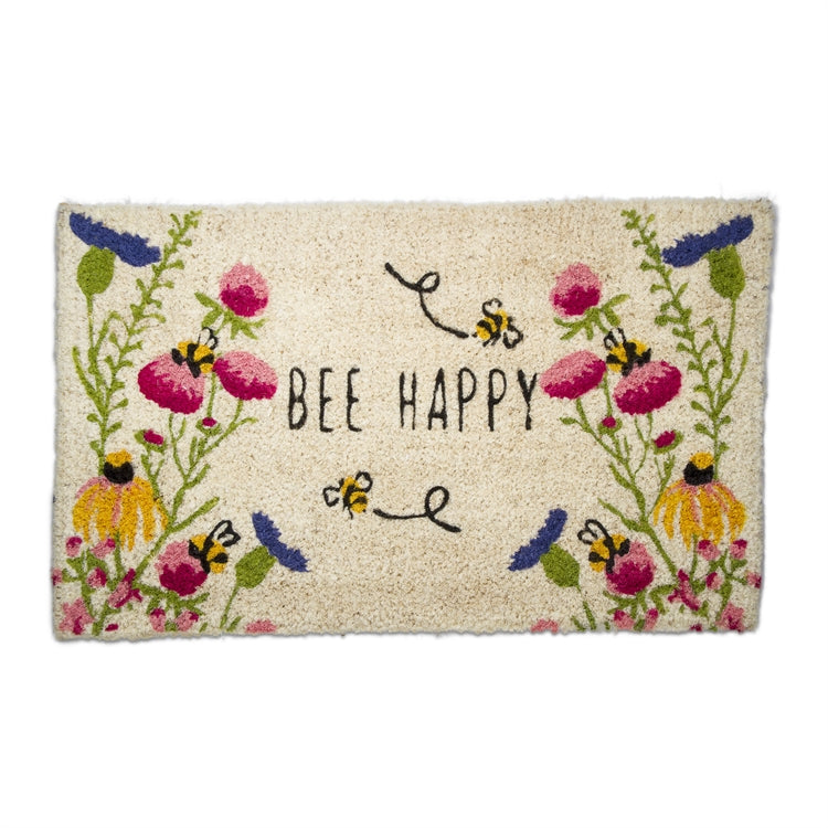 """Bee Happy"" Wildflower Coir Doormat"