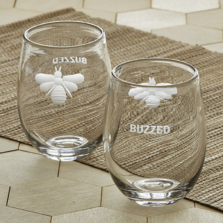 """Buzzed"" Etched Bee Stemless Glass 