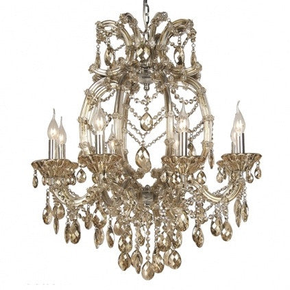 Champagne Crystal Chandelier - 8 Light-Dresses-BI-Bethel International-Putti Fine Furnishings