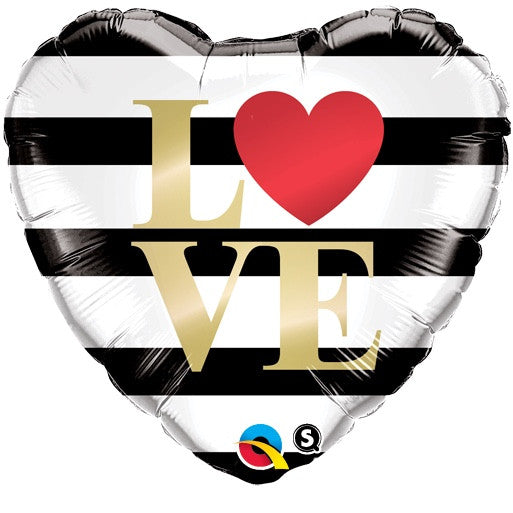 """Love"" Black & White Stripe  Balloon, Surprize Enterprize, Putti Fine Furnishings"
