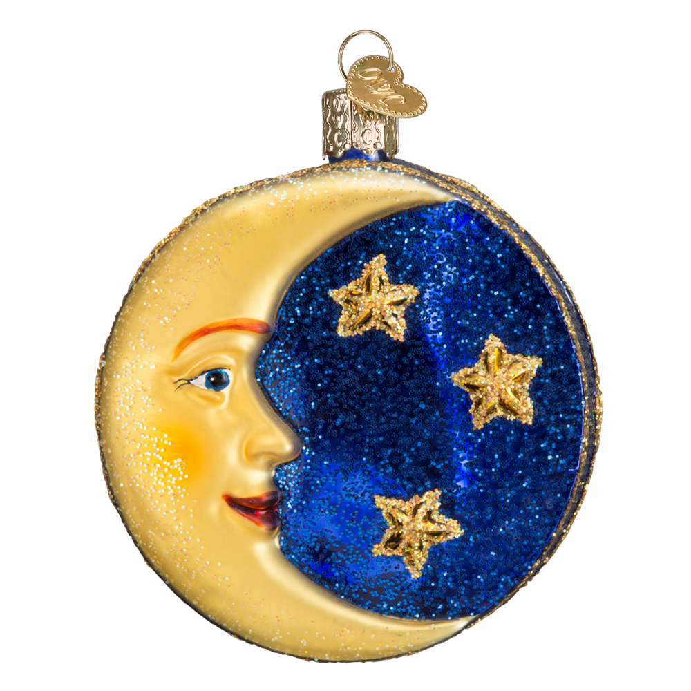 Old World Christmas Man in the Moon Glass Christmas Ornament