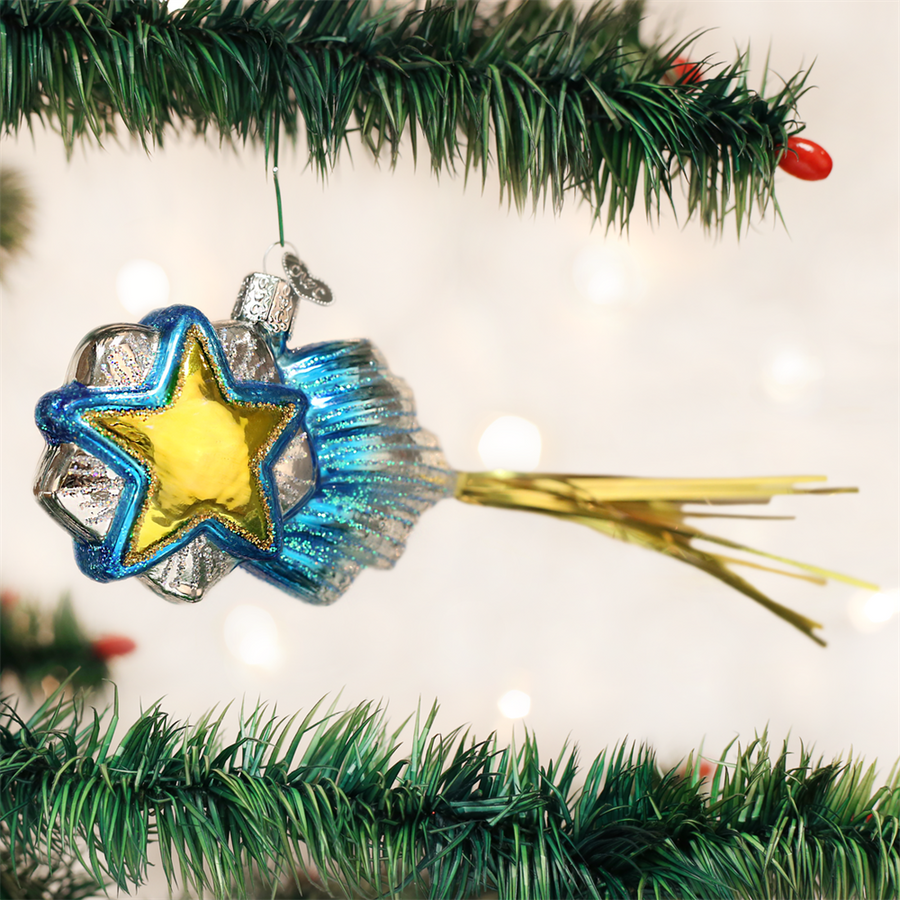 Old Word Shooting Star Glass Ornament, OWC-Old World Christmas, Putti Fine Furnishings