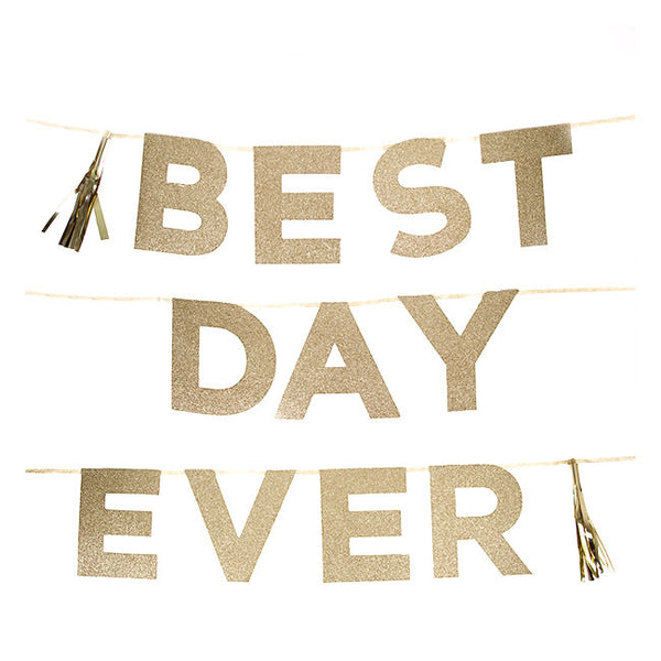 "Say It With Glitter ""Best Day Ever"" Banner-Party Supplies-TT-Talking Tables-Putti Fine Furnishings"
