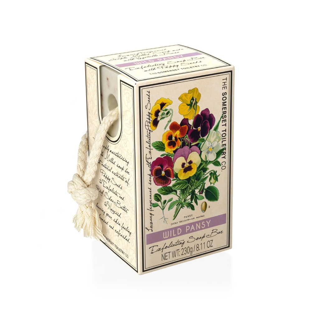 Wild Pansy Exfoliating Soap on a Rope | Putti Fine Furnishings