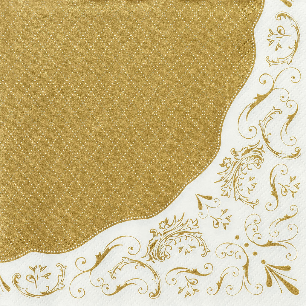 Party Porcelain Gold Paper Luncheon Napkins-Paper Napkins-TT-Talking Tables-Putti Fine Furnishings