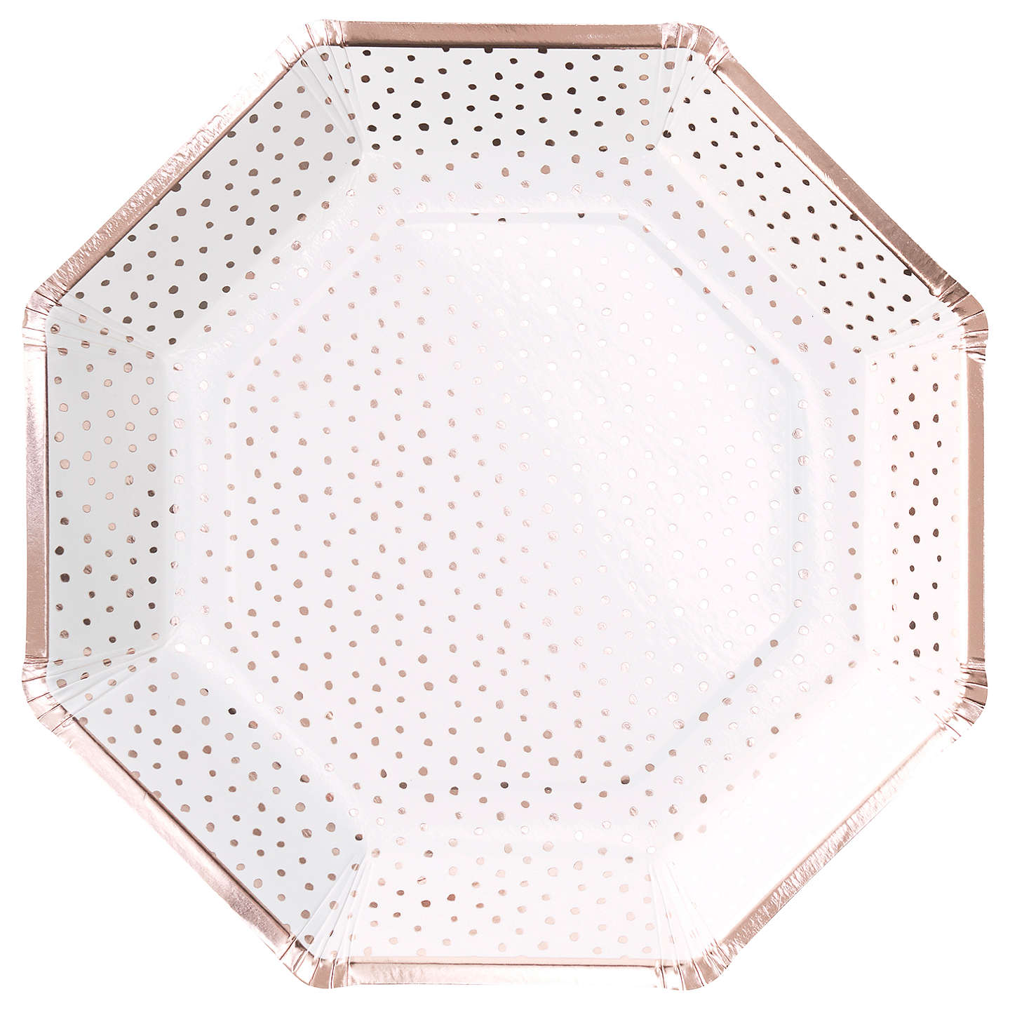 Spotty Rose Gold Paper Plates, GR-Ginger Ray UK, Putti Fine Furnishings