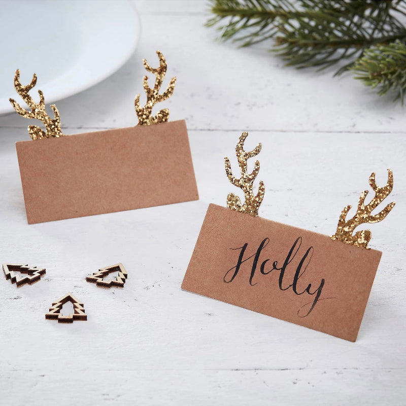 Ginger Ray Gold Kraft Glitter Antler Placecards  | Putti Christmas Canada