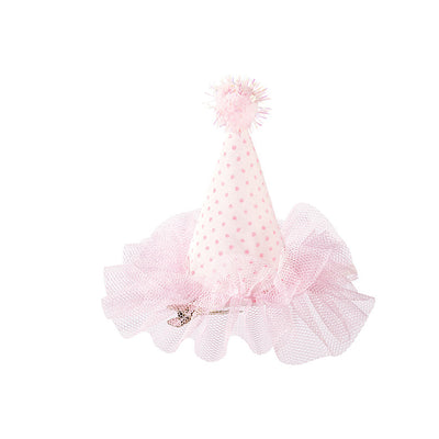 """We Heart Pink"" Mini Hat - Pink & White Polka dot with Pink Tulle Party Supplies - Talking Tables - Putti Fine Furnishings Toronto Canada - 3"