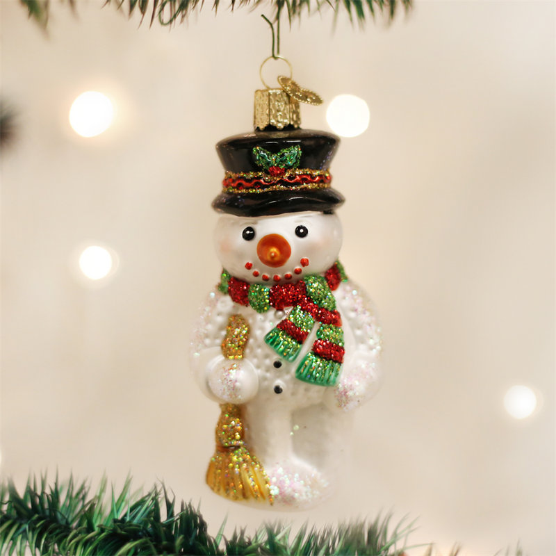 Old Word Christmas Snowman with Broom Ornament