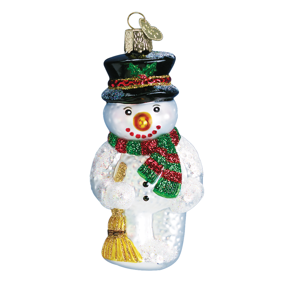 Old Word Christmas Snowman with Broom Ornament, OWC-Old World Christmas, Putti Fine Furnishings