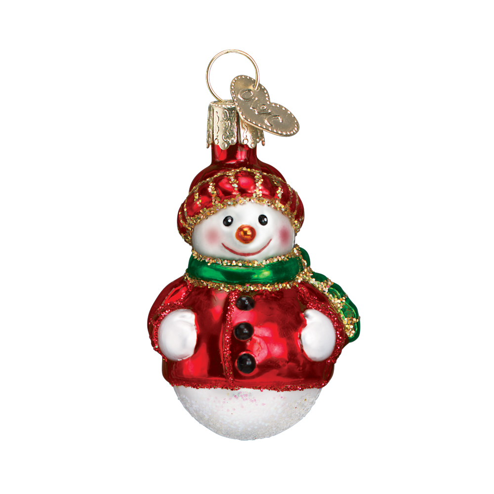 Old World Christmas Miniature Happy Snowmen - Red coat with red hat Christmas Decorations - Old World Christmas - Putti Fine Furnishings Toronto Canada - 3
