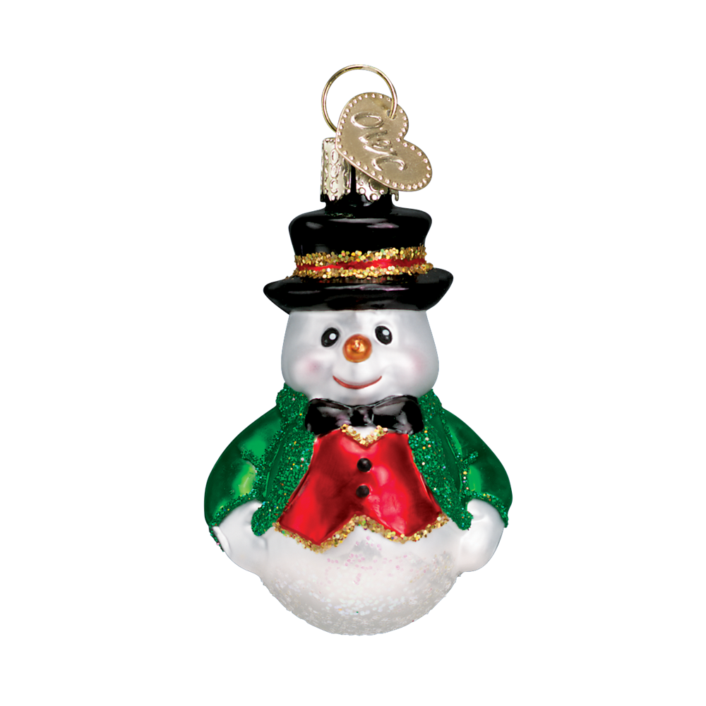 Old World Christmas Miniature Happy Snowmen - Red vest with top hat Christmas Decorations - Old World Christmas - Putti Fine Furnishings Toronto Canada - 4