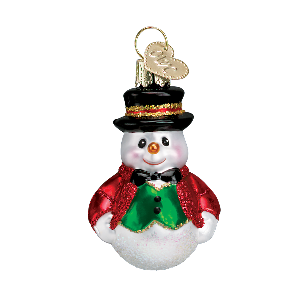 Old World Christmas Miniature Happy Snowmen - Green vest with top hat Christmas Decorations - Old World Christmas - Putti Fine Furnishings Toronto Canada - 5