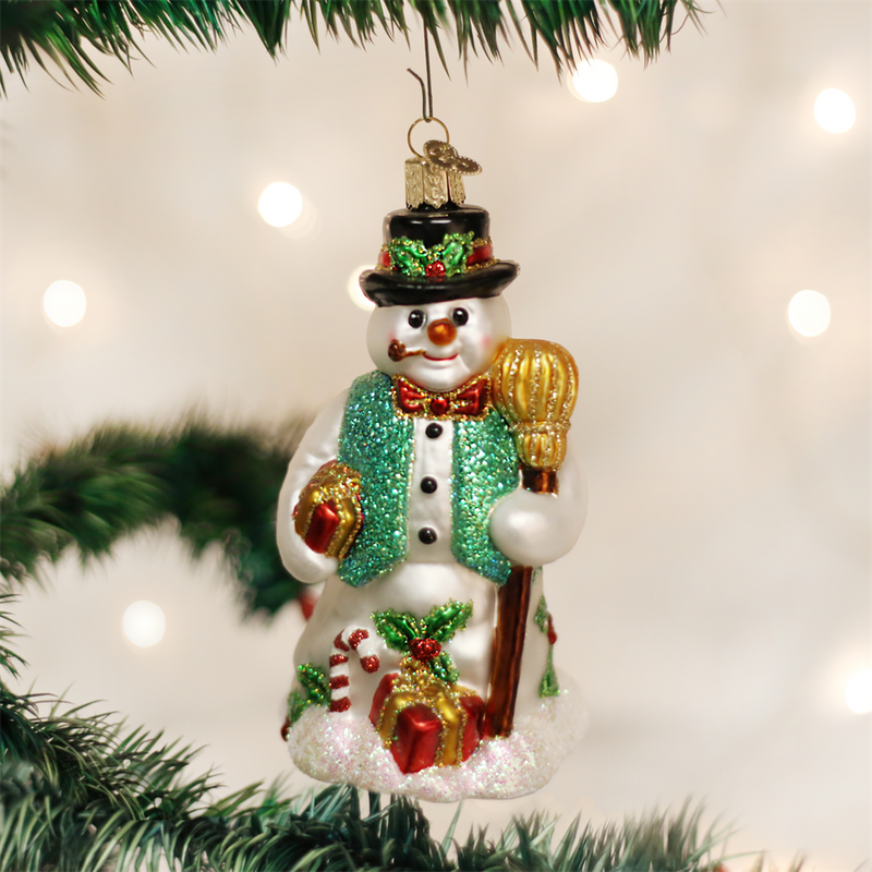 Old Word Christmas Merry Mr Snow Glass Ornament