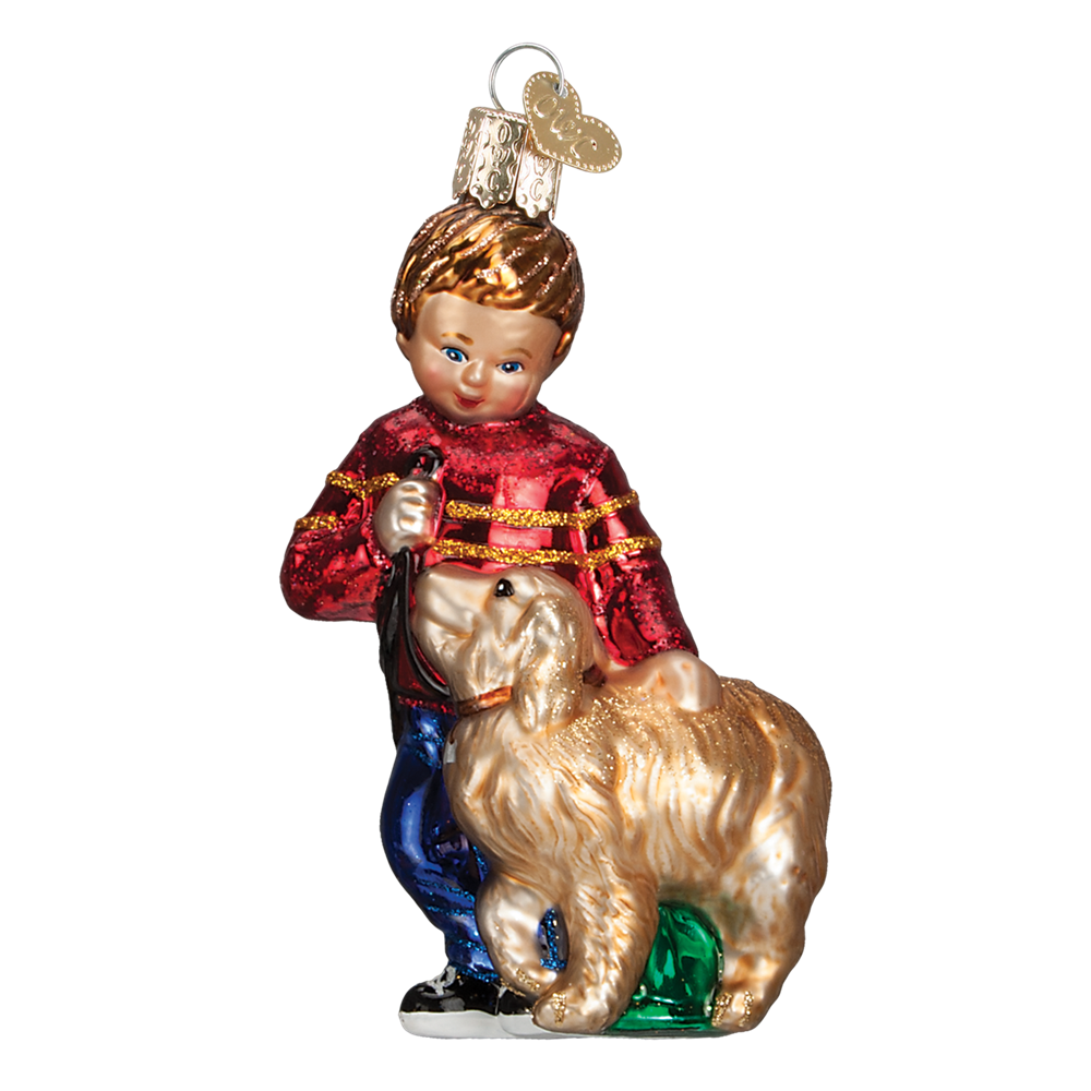 Old World Christmas Boy with Golden Retriever Dog Glass Ornament -  Christmas Decorations - Old World Christmas - Putti Fine Furnishings Toronto Canada - 1
