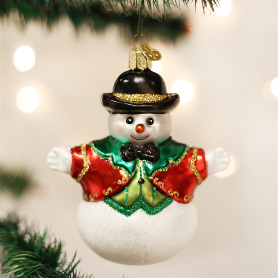 Old Word Christmas Bowler Hat Snowboy Glass Ornament