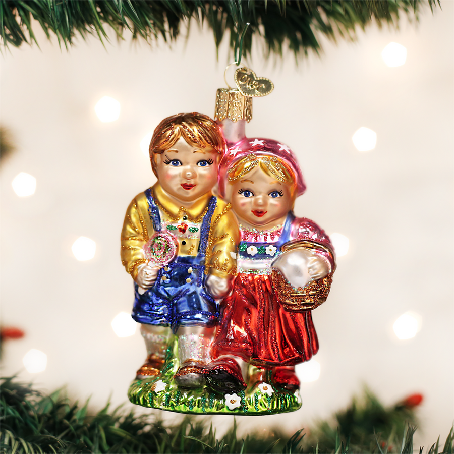 Hansel and Gretel Glass Christmas Ornament
