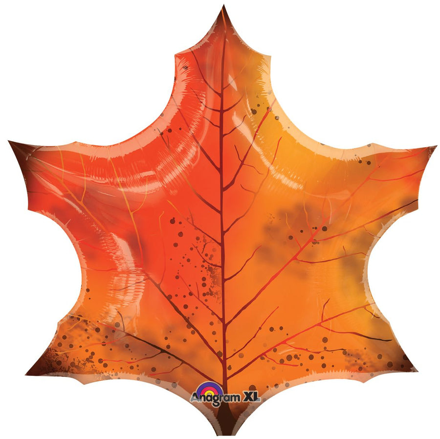 Orange Maple Leaf Mylar Balloon