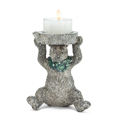 Bear with Wreath Candle Holder