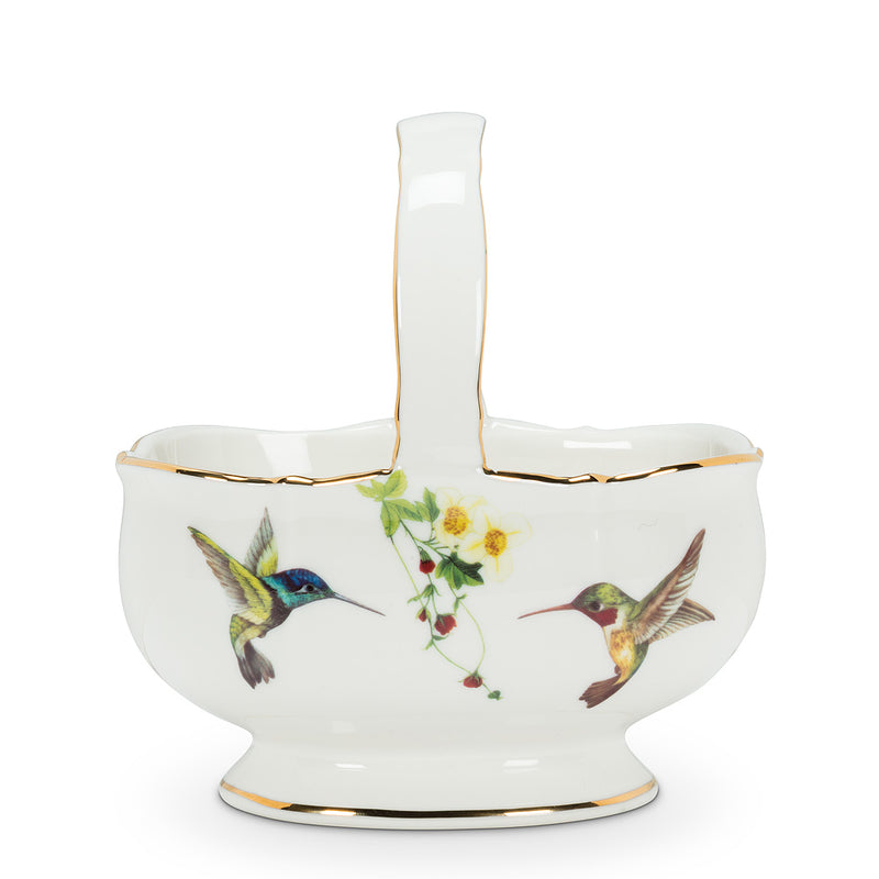 Hummingbird Handled Basket | Putti Fine Furnishings Canada
