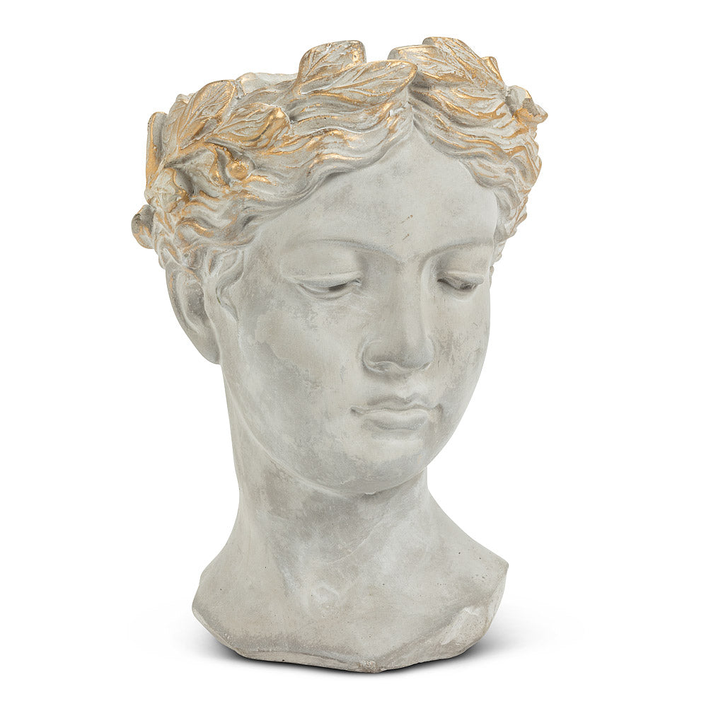 Woman Head Planter with Gold Detailing  - Large