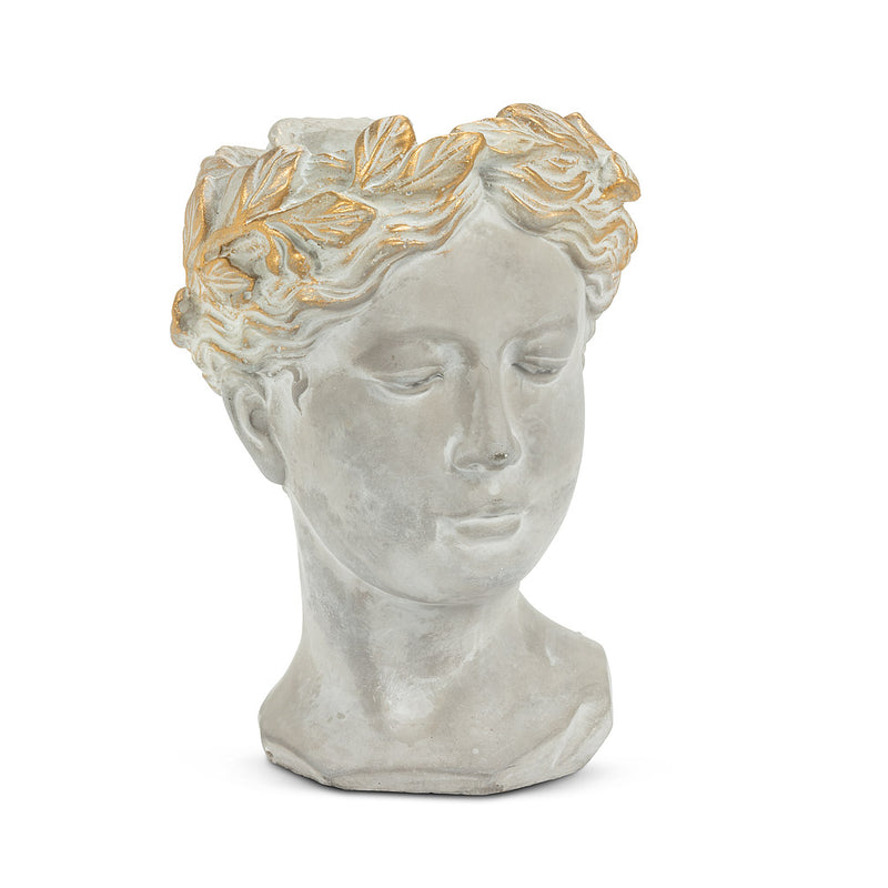 Woman Head Planter with Gold Detailing - Small
