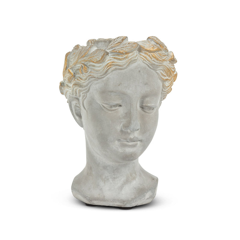 Woman Head Planter with Gold Detailing  - Extra Small