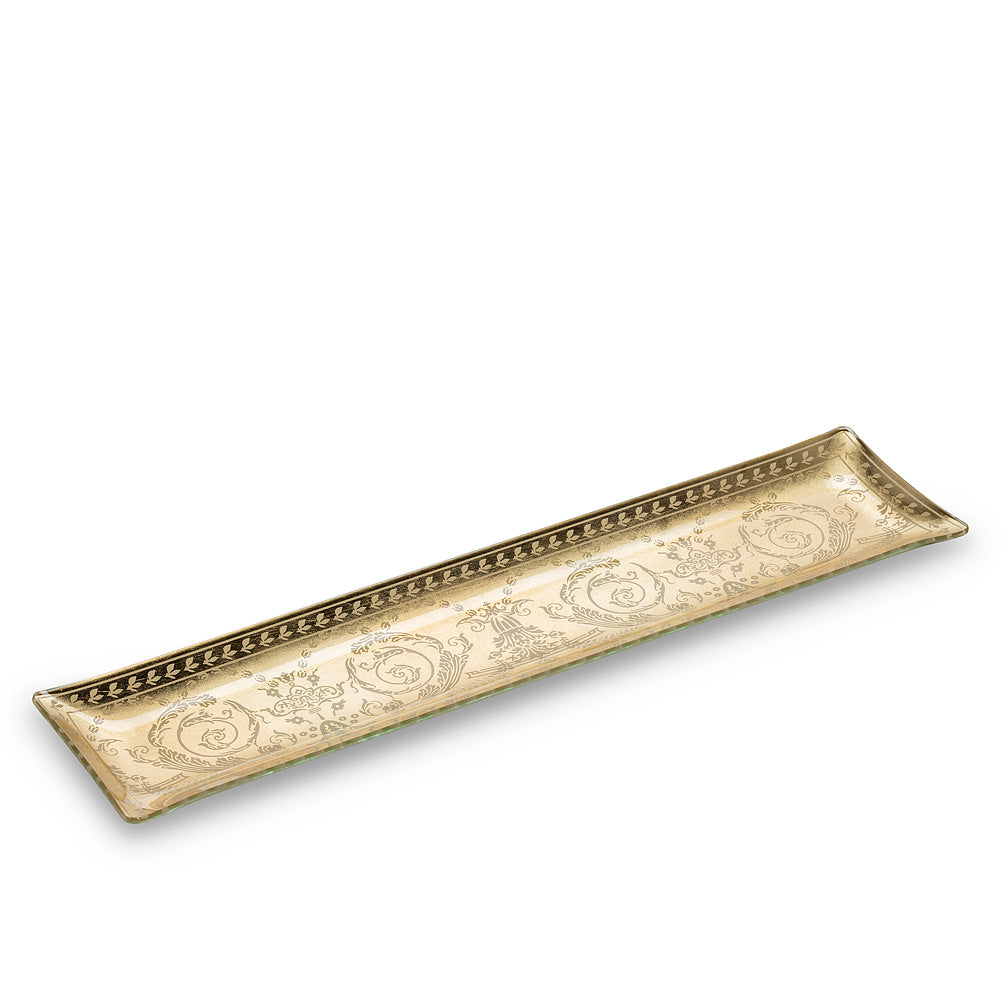 Long Slim Plate with Ornate Scroll - Putti Fine Furnishings